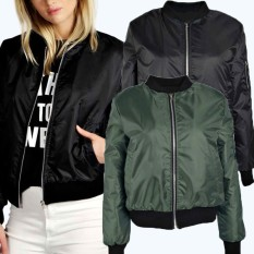 ZANZEA Womens Classic Padded Bomber Jacket Ladies Vintage Zip Up Biker Coat