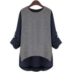 ZANZEA Women's Easing Render Unlined Upper Long Sleeve T-shirt Plus-Size (Intl)