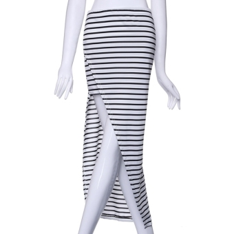 ZANZEA Women's Striped Bodycon Long Maxi Skirt Irregular Hem Beachwear Swimwear