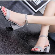 ZH Shopping Ms. Buckles thick with fish mouth high-heeled shoes Grey - intl