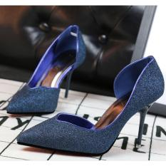 ZH Shopping Ms. Sexy stilettos shallow mouth pointed high-heeled shoes Blue - intl