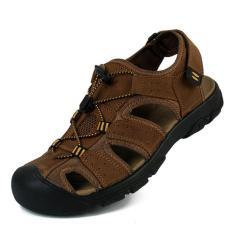 ZHAIZUBULUO Men Flat Leather Sporty Slipper Sandals Shoes (Brown) (Intl)