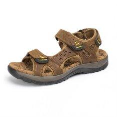 ZHAIZUBULUO Men's Fashion Summer Beach Shoes Leather Vecro Outdoors Sandal (Light Brown) (Intl)