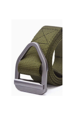 ZigZagZong Mens Buckle Waistband Handmade Waist Canvas Leather Belt Costume New Design COOL (Army Green) - Intl