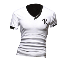 ZigZagZong Men's Short Sleeve T-shirt N-neck Letter R Printed Stretchy TopWhite (Intl)