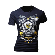 ZigZagZong Men's T-Shirt Short Sleeve Casual Top Round Neck Badge Prints Navy Blue - Intl