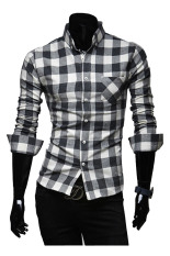 ZigZagZong New Mens Slim Fit Casual & Dress Plaid Check Shirt Long Sleeve (Black) (Intl)