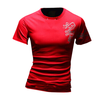 ZigZagZong Summer Men's Short Sleeve Crewneck Totem Tattoo Printed Tops T-shirt Red (Intl)