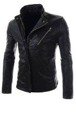 Zip Up Stand Collar Leisure Men PU Jacket (Black)