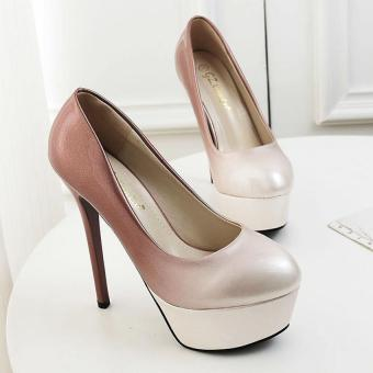 ZNPNXN Hot Fashion High-Heeled Shoes Platform Woman Pumps Pointed Toe Ladies Wedding Shoes Rivets High Heels Sexy Closed Toe Women Shoes (Apricot)