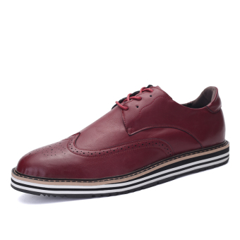 ZNPNXN Leather Men's Fromal Shoes Low Cut Shoes (Red)
