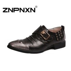 ZNPNXN Men's Business Casual Leather Shoes Breathable Formal Shoes (Black)