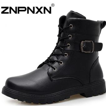 ZNPNXN Men's Fashion Autumn And Winter Martin Boots White Outdoor Boots Couple Boots(Black)