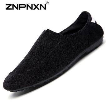 ZNPNXN Men's Fashion Casual Peas Shoes (Black)