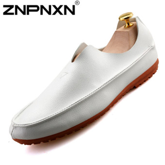 ZNPNXN Men's Fashion Formal Shoes & Low Cut Slip-on Shoes Leather Shoes (White)