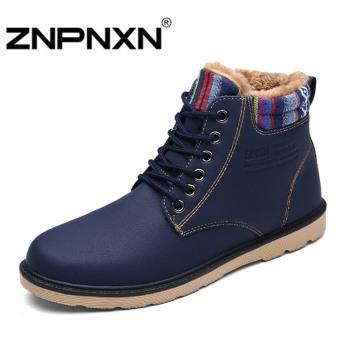 ZNPNXN Men's Fashion Winter Explosion Models Cotton Shoes Work Shoes Snow Boots(Blue)