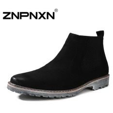 ZNPNXN Men's Fashion Winter Imports Of Matte Hair High Korean Boots To Help(Black)