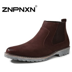 ZNPNXN Men's Fashion Winter Imports Of Matte Hair High Korean Boots To Help(Brown)