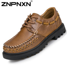ZNPNXN Men's Middle-aged Fashion Formal Shoes & Low Cut Shoes Leather Shoes (Brown)