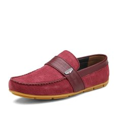 ZNPNXN Suede Men's Flat Shoes Casual Loafers) Red) (Intl)