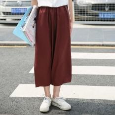 ZNPNXN Women'S Summer New Leisure High Waist Wide Leg Trousers Straight Trousers(Burgundy) - intl