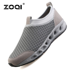 ZOQI Summer Man's Fashion Sneakers Sport Casual Breathable Comfortable Shoes (Grey)