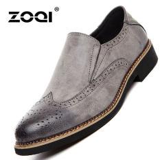 ZOQI Summer Man's Formal Low Cut Shoes Fashion Brogue Casual Comfortable Shoes (Grey) - Intl