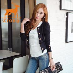 Zrong New Women's Fashion Long Sleeve O-Neck Thin Casual Blazer Short Coat Outerwear (Black) - Intl