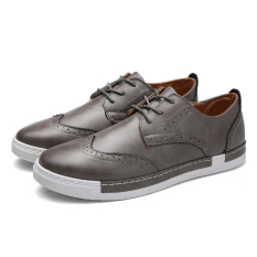 ZUNCLE Leather Shoes Bullock Men 's Shoes Casual Shoes (Gray) - Intl