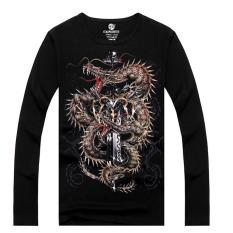 ZUNCLE Men's Fashion 3D Printed Long-sleeved Cotton T-shirt, Metal Rock Punk (LC Xin Long Jian) (Intl)