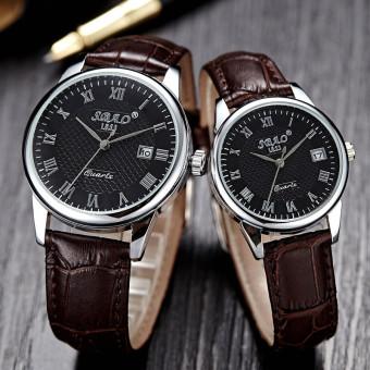 1 pasang bisnis santai pria wanita tanggal jam tangan pasangan kuarsa kulit  (coklat) d12ff33779