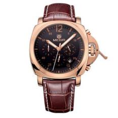 [100% Authentic] MEGIR 3006 Chronograph Brown Genuine Leather Band Gold Case Quartz Luxury Mens Watch (Gold) + Free Watch Box - Intl