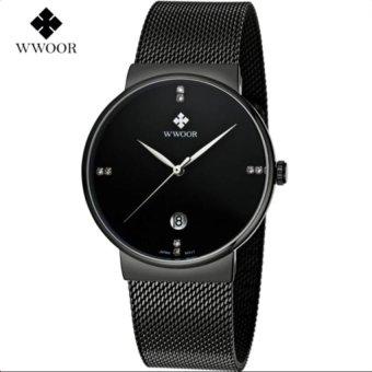 [100% Genuine] 2017 New WWOOR 8018 Mens Watches Ultra Thin Date Clock Male Waterproof Sports Quartz Men Watch Casual Wristwatch Black - intl