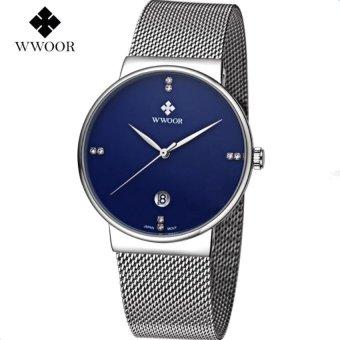 [100% Genuine] 2017 New WWOOR 8018 Mens Watches Ultra Thin Date Clock Male Waterproof Sports Quartz Men Watch Casual Wristwatch Blue - intl