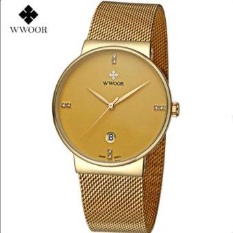[100% Genuine] 2017 New WWOOR 8018 Mens Watches Ultra Thin Date Clock Male Waterproof Sports Quartz Men Watch Casual Wristwatch Gold - intl