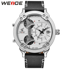[100% Genuine] WEIDE 1506 Brand Men Sport Watches Quartz Watch Genuine Leather Strap Multiple Time Zone Fashion Design Male Clock Wristwatches - Intl