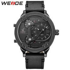 [100% Genuine] WEIDE Brand Men Sport Watches Quartz Watch Genuine Leather Strap Multiple Time Zone Fashion Design Male Clock Wristwatches 1506 - Intl