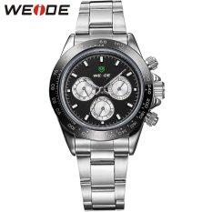 [100% Genuine]WEIDE Men's Quartz Watch Men Sports Watches Top Fashion Brand Stainless Steel Military Waterproof Wristwatches