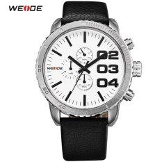 [100% Genuine]WEIDE New Men's Sports Watch Leather Strap Analog Date Men's Quartz Watch Casual Watches Men Wristwatch