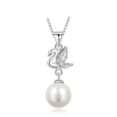 100% Pure 925 Sterling Silver Pendant With Shell Pearl (White)