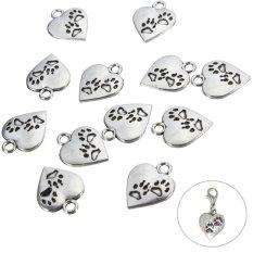 100Pcs 17mm Tibetan Silver Paw Print Heart Pendants Charms For Jewellery Making - Intl