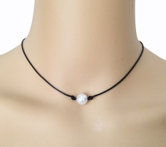 10mm Cultured Freshwater White Pearl Necklace Single Pearl Black Leather Choker Real Floating Pearl Handmade Jewelry Best Friend Pendant Women Jewellery