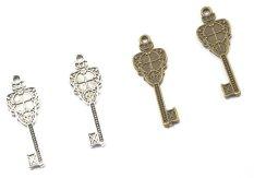 BolehDeals 12pcs Bronze AND Silver DIY Key Charms Pendants For Jewelry Making