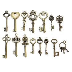 15 Pcs Mixed Style Bronze Antique Key Shape Pendant Charms DIY Jewelry Findings - Intl
