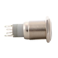 16mm Waterproof Metal Circle Latching Push Button Stainless Switch White TE549