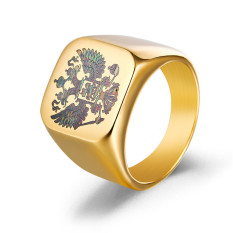 18 KB emas berlapis stainless steel Polandia elang lambang geng bermotor mayat Band Rusia Signet mayat Pria untuk