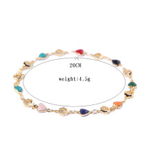 18K Gold Plated Bracelet Bangle Multicolor Zircon Heart Chain Link Bracelet