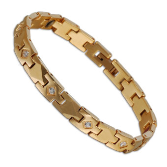 19.5 Cm Gold Plated Tungsten CZ Stone Bracelet For Women - Intl