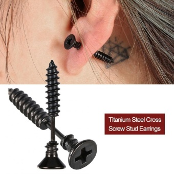 1PC Fashionable Men Women Titanium Steel Ear Stud Earring Decoration(Black) - intl