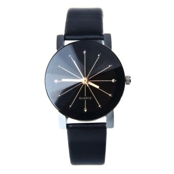 1PC WoMen Quartz Dial Clock Leather Wrist Watch Round Case - intl